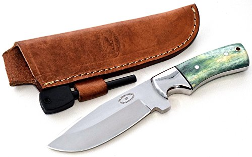 CFK USA Custom Handmade D2 DEER-ELK-MOOSE Tool Steel Green Camel Bone Skinning Hunting Camping Knife with Leather Sheath & Fire