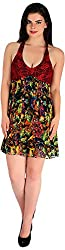 Holidae Women's Printed Midi Dress (HI-DR-MD-0036_XL, Multicolour, XL)