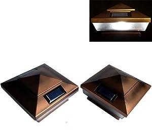 2 Pk Garden Solar Copper Post Deck Cap Square Fence Lights 5 LEDs