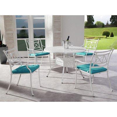BEST 98196003 9-teilig Set Antigua Tisch 106 cm, rund, D.1360, weiß günstig online kaufen