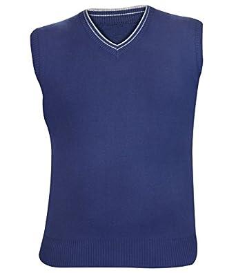 Mens & Boys Diamond Sleeveless Jumper Pullover Sweater Top (L, S3- Denim Blue)