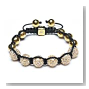 Bling Jewelry Disco Ball Bead Bracelet Shamballa Inspired Gold Faceted Beads