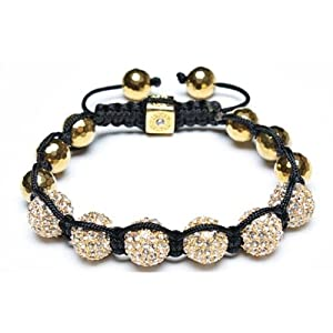Bling Jewelry Disco Ball Bead Bracelet Shamballa Inspired Gold Faceted Beads 10-12mm
