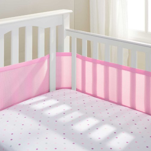 BreathableBaby Mesh Crib Liner Light Pink W Pink Owl Toy