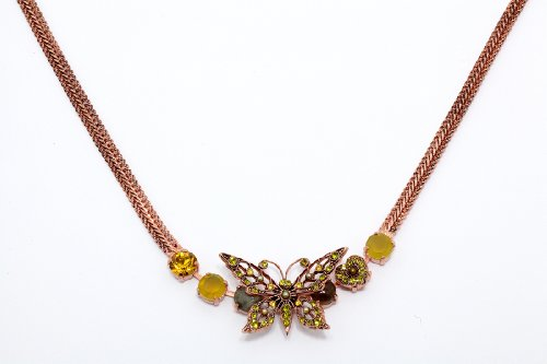 Amaro Jewelry Studio 'Genesis' Collection 24K Rose Gold Plated Necklace with Heart and Butterfly Elements, Ornate with Citrine, Labradorite, Pearls and Swarovski Crystals