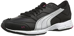 Puma  Puma Runner Leather Wn's, Chaussures de running femme - Noir - Schwarz (black-silver metallic-cabaret-white 04), 38 EU