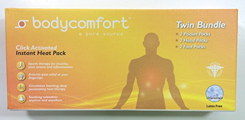 Body Comfort Twin Bundle Instant Heat Pack Pack unscented. Box of 6 Packs (2 Pocket, 2 Hand and 2 Foot.)