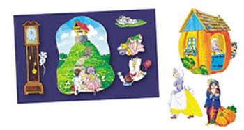 Nursery Rhymes 1 felt figures for flannel boards-4 rhymes Jacks Jill, 3 Blind Mice, Hickory Dickory, Peter Pumpkin Eater