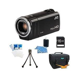 JVC GZ-E100BUS - HD Everio Camcorder 40x Zoom f1.8 (Black) with 16GB Bundle