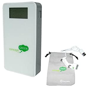 Concept Green Energy Solution CG5810W 5800-mAh Portable Charger with Status Indicator and Dual Outputs, White