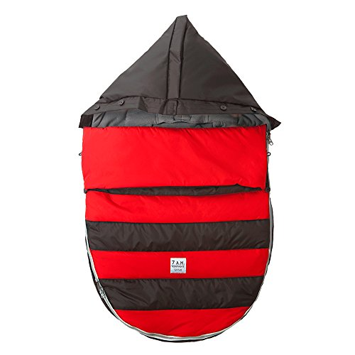 7AM Enfant Bee Pod Baby Bunting Bag for Strollers and Car-Seats with Removable Back Panel, Black/Red, Medium/Large - 1