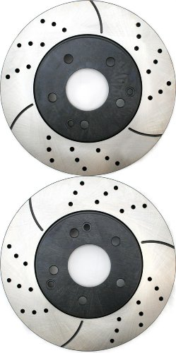 Prime Choice Auto Parts PR44218LR Performance Drilled and Slotted Brake Rotor Pair for Front (Auto Parts Mercedes Benz C240 compare prices)