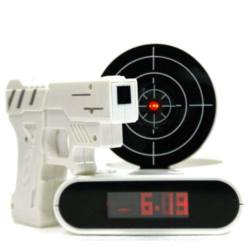 Unique 2.3 LCD Laser Gun Target Shooting Alarm Desk Clock Set