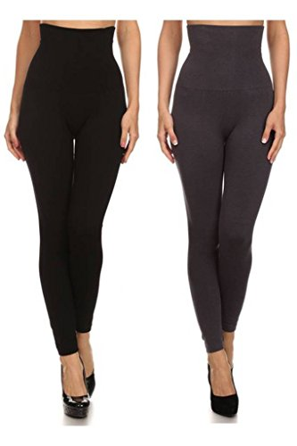 Womens-Empire-Waist-Tummy-Compression-Control-Top-Leggings-French-Terry-Lining