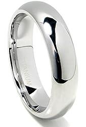 Titanium 6mm High Polish Plain Dome Wedding Band Ring (Sizes 6 to 13.5)