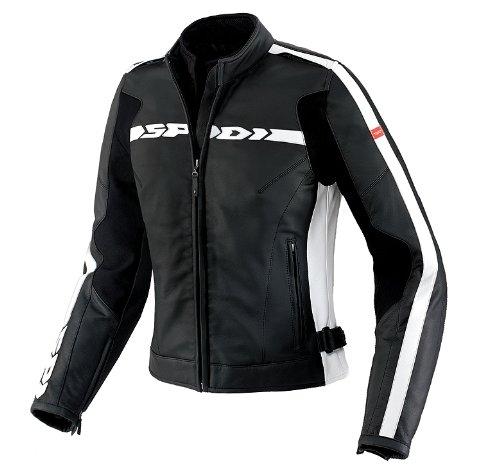 Spidi P115-011 Ladies' Leather Motorcycle Jacket Black / White EU Size 42
