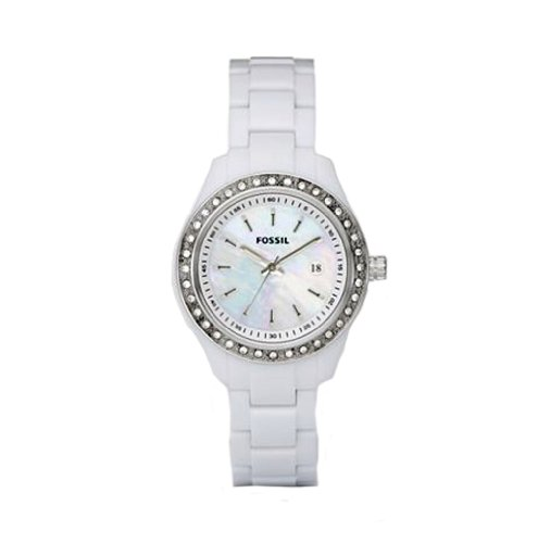 Fossil ES2437 Ladies White Acrylic 'Stella' Watch with Stone Set Bezel