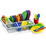"Durable ""Play Dishes"" Set, Pretend Play Childrens Dish Set - 29 Piece with Drainer"