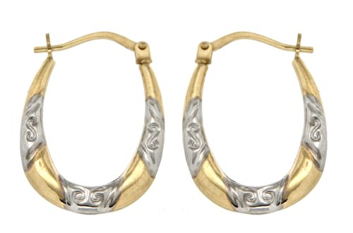 9ct 2 Colours Gold Diamond Cut Creole Earrings