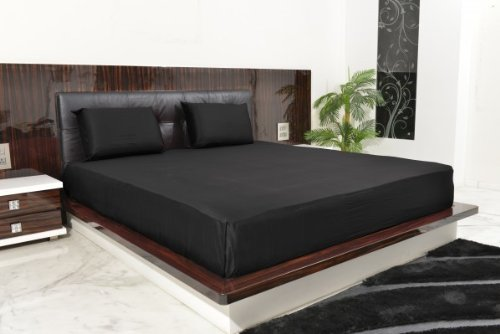 "600 Thread Count 100% Egyptian Cotton Solid Black Full 18"" Deep Pocket Sheet Set front-1036607"
