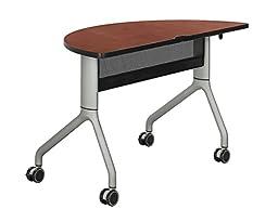 Rumba 48 x 24 Half Round Table Cherry Top, Metallic Gray Base electronic consumers
