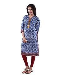 AARR Cotton Blue 3/4th Sleeves Kurta For Women - B00W9W1AC4