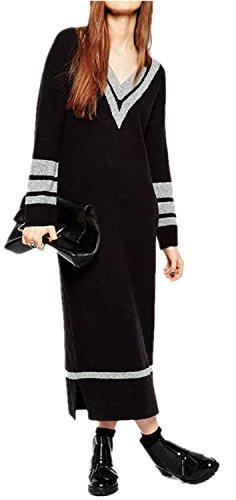 Moda con Scollo a V Varsity Striped Lungo Lunga Maxi Lunghi Dritto Sheath Maglione Maglia Dress Vestito Abito Nero Grigio L