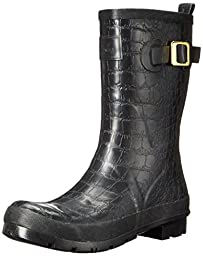 Joules Women\'s Crockington Short Rain Boot, Black, 8 M US