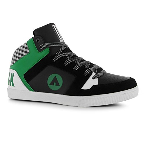 Airwalk Roxbury Mid Top Skate Scarpe Casual da uomo, colore: nero/verde, Sneakers, Black/Green, (UK8) (EU42)