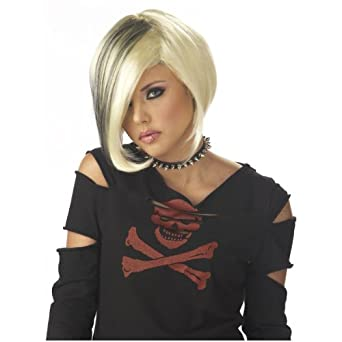 Amazon.com: Sexy Goth EMO Short Blonde Adult Punk Girl Costume Wig