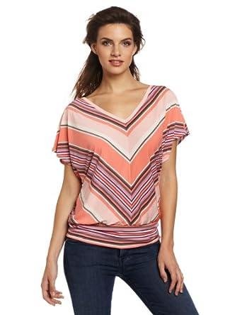 Evolution by Cyrus Women's Retro Peach Stripe Top, Peach, Small