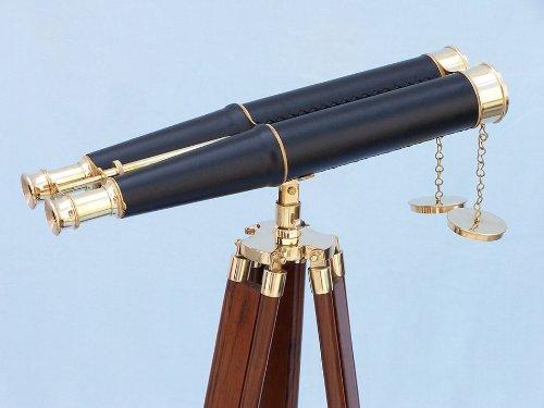 """Floor Standing Admiral'S Brass/Leather Binoculars 62"""" Decorative Binoculars, Vintage Binoculars, Antique Brass Binoculars, Nautical Room Décor, Old Binoculars"""
