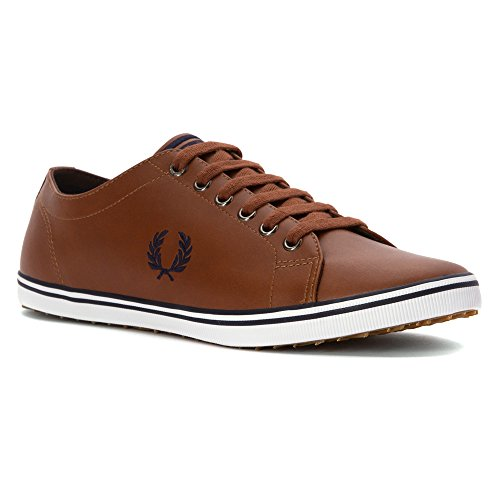 Fred Perry Men's Kingston Leather Sneaker Tan/Carbon Blue 6.