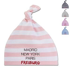BZ15S Baby Mützchen Mütze Knoten gestreift Streifen Geschenk Baby One Knot Hat - Städte & Länder Baby - Weltstadt Freiburg