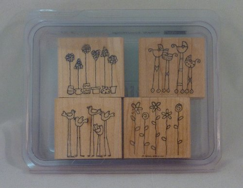 Stampin' Up! SIMPLE SOMETHINGS Set of 4 Decorative Rubber Stamps Retired - 1