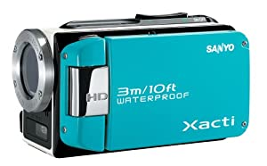 Sanyo VPC-WH1 High Definition Waterproof Flash Memory Camcorder w/ 30x Optical Zoom (Blue)