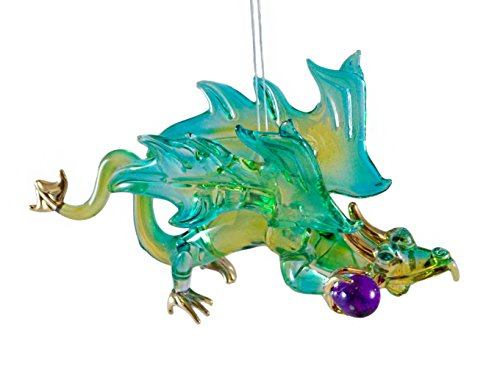 Dragon with Orb Fantasy Green and Blue Glass Hanging Christmas Ornament (Harry Potter Ring Glasses compare prices)