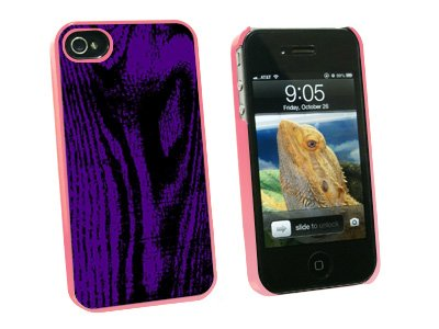 Wood Grain Purple - Snap On Hard Protective Case for Apple iPhone 4 4S - Pink