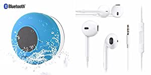 Mini Portable Waterproof Bluetooth Wireless Shower Speaker with Powerful Suction Cup+Earpods with Mic (1 Year warranty) For Nokia 603
