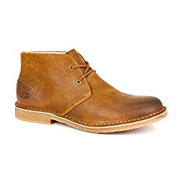 New UGG Men\'s Leighton Short Lace-up Boots Chestnut Leather 8