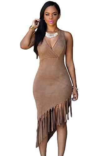 EZON-CH Women's Brown Faux Suede Fringe Dress