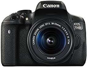 Canon EOS 750D Fotocamera Reflex Digitale da 24 Megapixel con Obiettivo EF-S 18-55 mm IS STM, Nero/Antracite