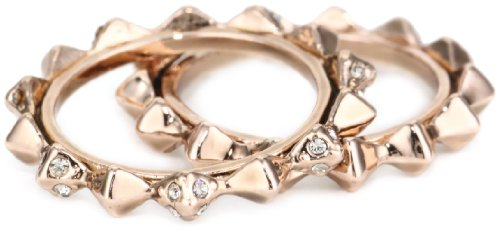 House of Harlow 1960 Rose Gold-Plated Spike Stack Ring, Size 7