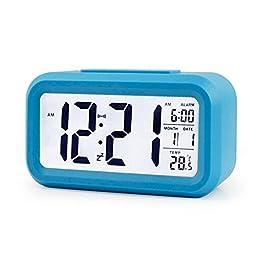 IYOOVI Morning Digital Clock and Alarm Large Display Travel Alarm Clock Low Light Sensor Technology with Temperature (Blue)