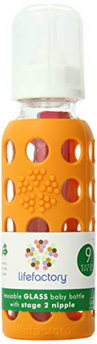 Lifefactory 9-Ounce BPA-Free Glass Baby Bottle with Protective Silicone Sleeve and Stage 2 Nipple, Orange