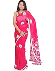 Exotic India Rose-Red Hand Embroidered Phulkari Sari From Punjab - Pink