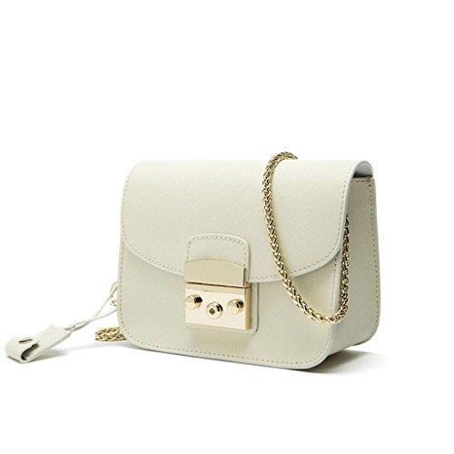 Borse donna in pelle piccolo partito, grano trasversale catena piccola borsa, borsa in pelle di moda , white