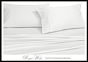 Royal Hotel's Solid White 300-Thread-Count 4pc King Bed Sheet Set 100-Percent Egyptian Cotton, Sateen Solid, Deep Pocket, 100% Cotton