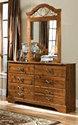 Standard Furniture 61159A Hester Heights Dresser with Coordinating Mirror and 8 Pullout Storage Drawers in