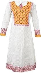ALMAS Lucknow Chikan Women's Cotton Regular Fit Kurti (White and Yellow)